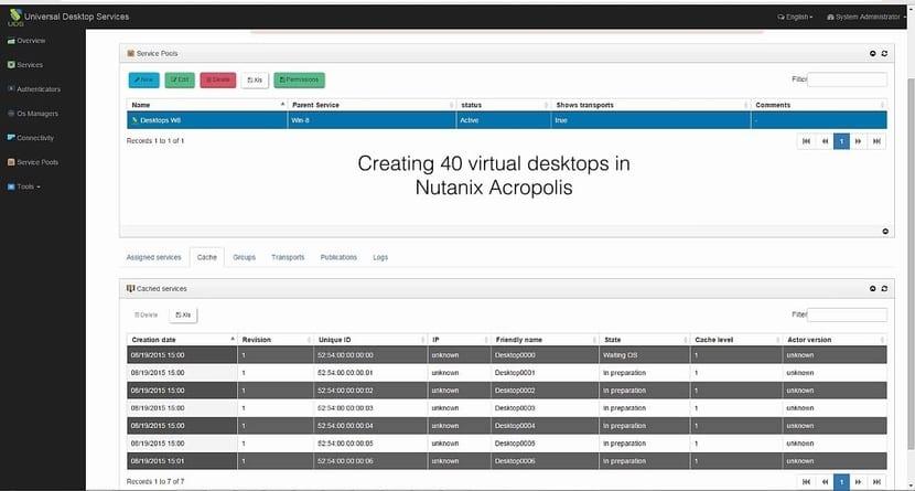 Captura de pantalla de UDS Enterprise