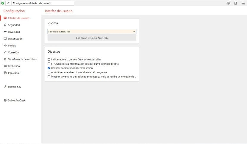 AnyDesk: Pantalla de Configuración