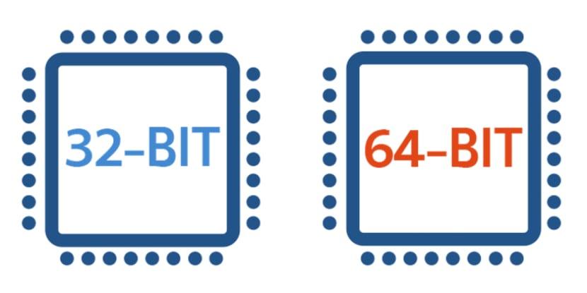 Dibujo de chip 32 y 64 bits