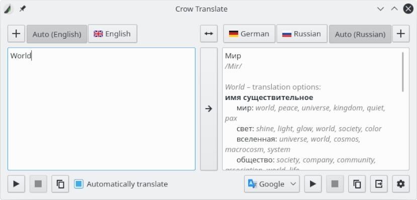 Crow Translate: Un traductor simple y ligero para GNU/Linux, que además permite traducir y hablar texto usando los motores de Google, Yandex y Bing.