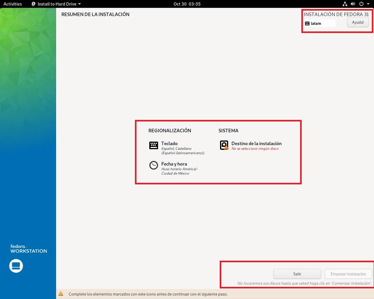 Instalacion Fedora 31 - paso 3