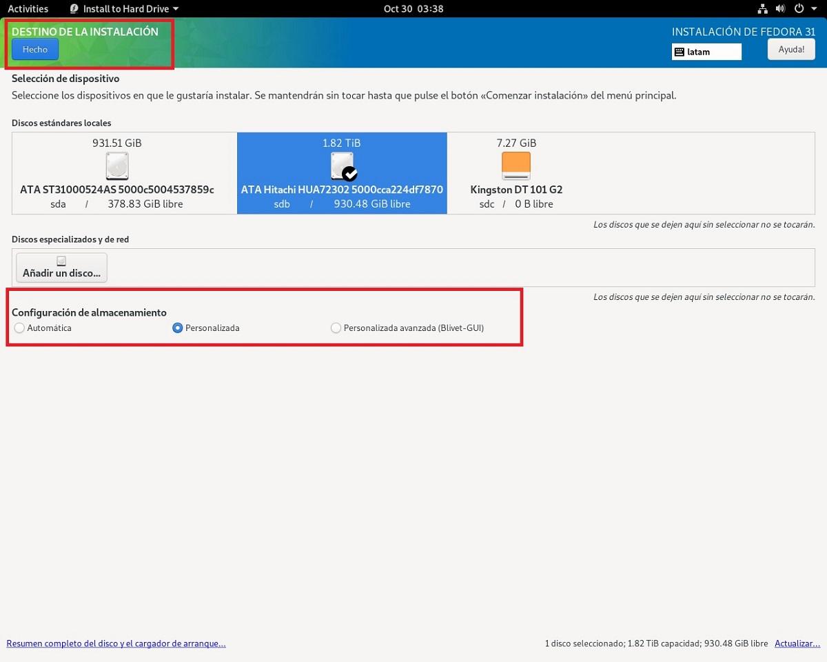 Instalacion Fedora 31 - paso 4