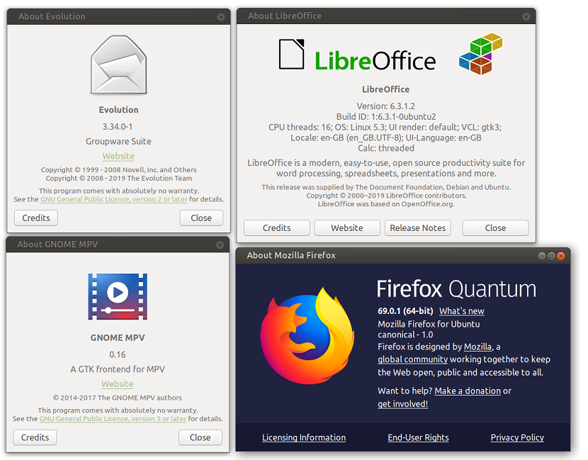 Ubuntu Mate 19.10 software