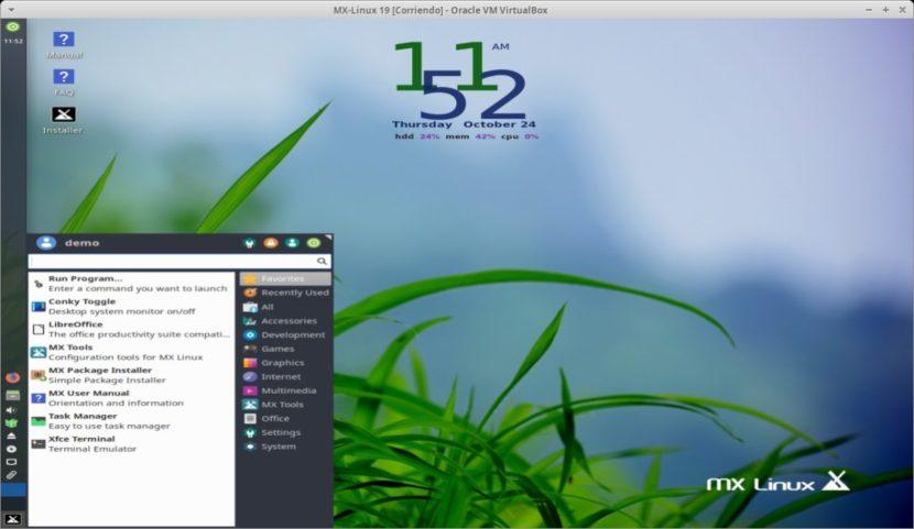 MX Linux 19 - Patito Feo: Menú de Inicio