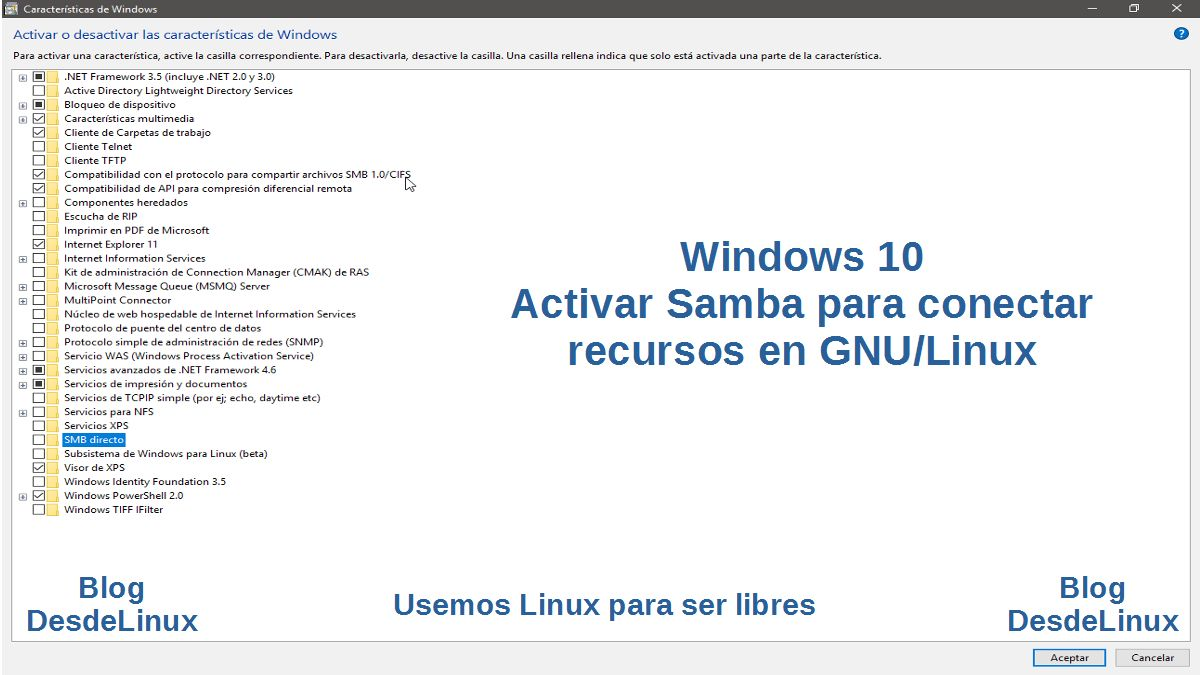 Windows 10: Contenido para activar Samba