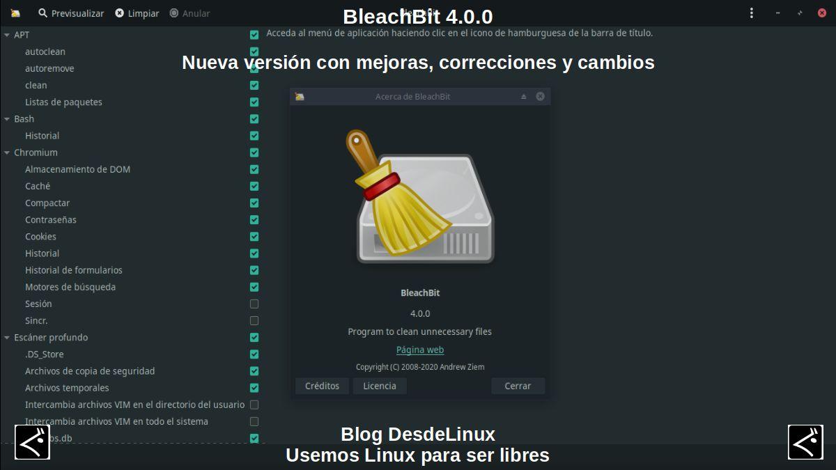 BleachBit 4.0.0: Nueva versión con mejoras, correcciones y cambios