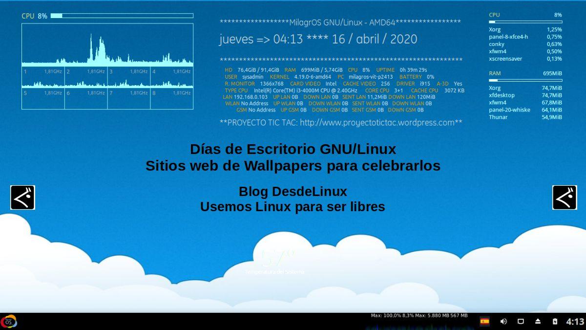 Días de Escritorio GNU/Linux: Sitios web de Wallpapers para celebrarlos