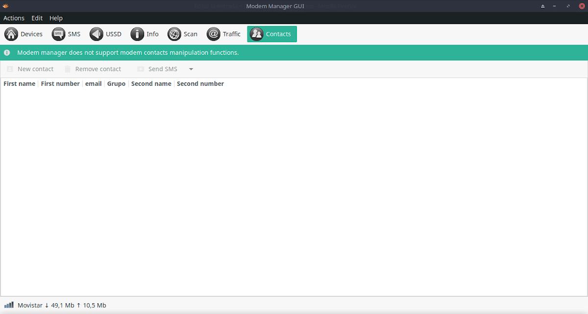 Modem-Manager-GUI: Opción Gestión de contactos