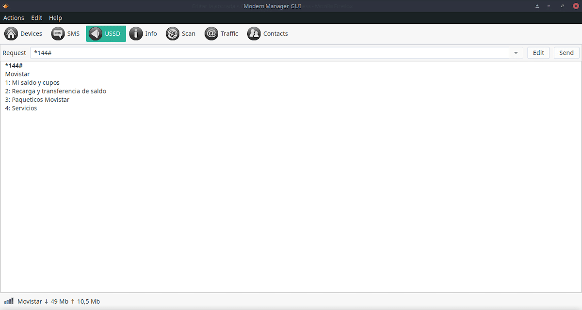Modem-Manager-GUI: Opción Mensajes USSD