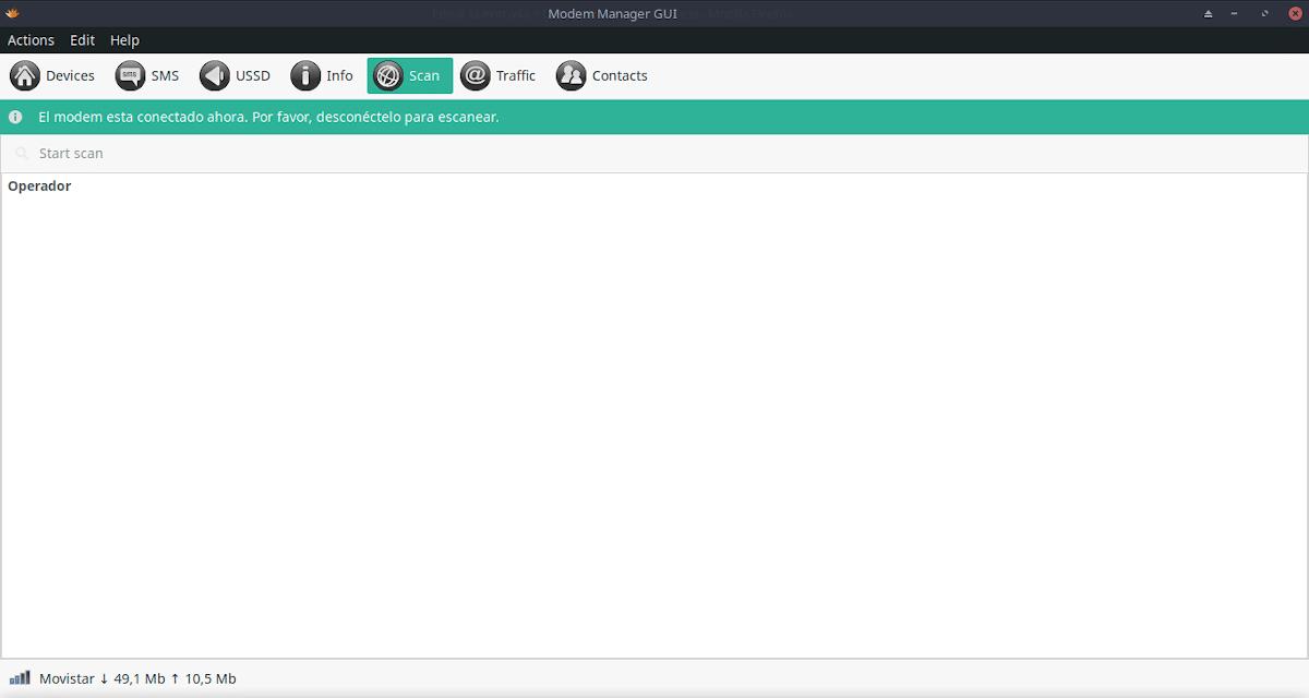 Modem-Manager-GUI: Opción Escaneo de conexiones detectadas