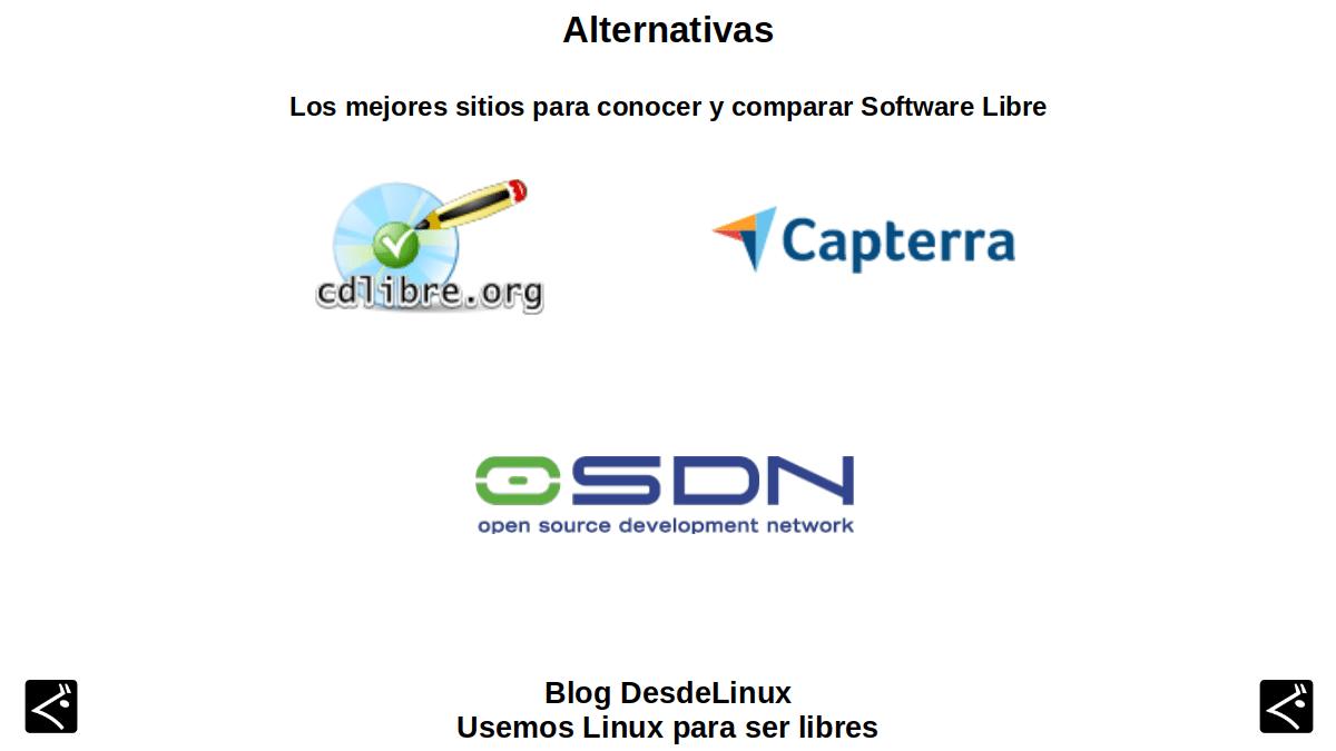 Alternativas: Los mejores sitios para conocer y comparar Software Libre
