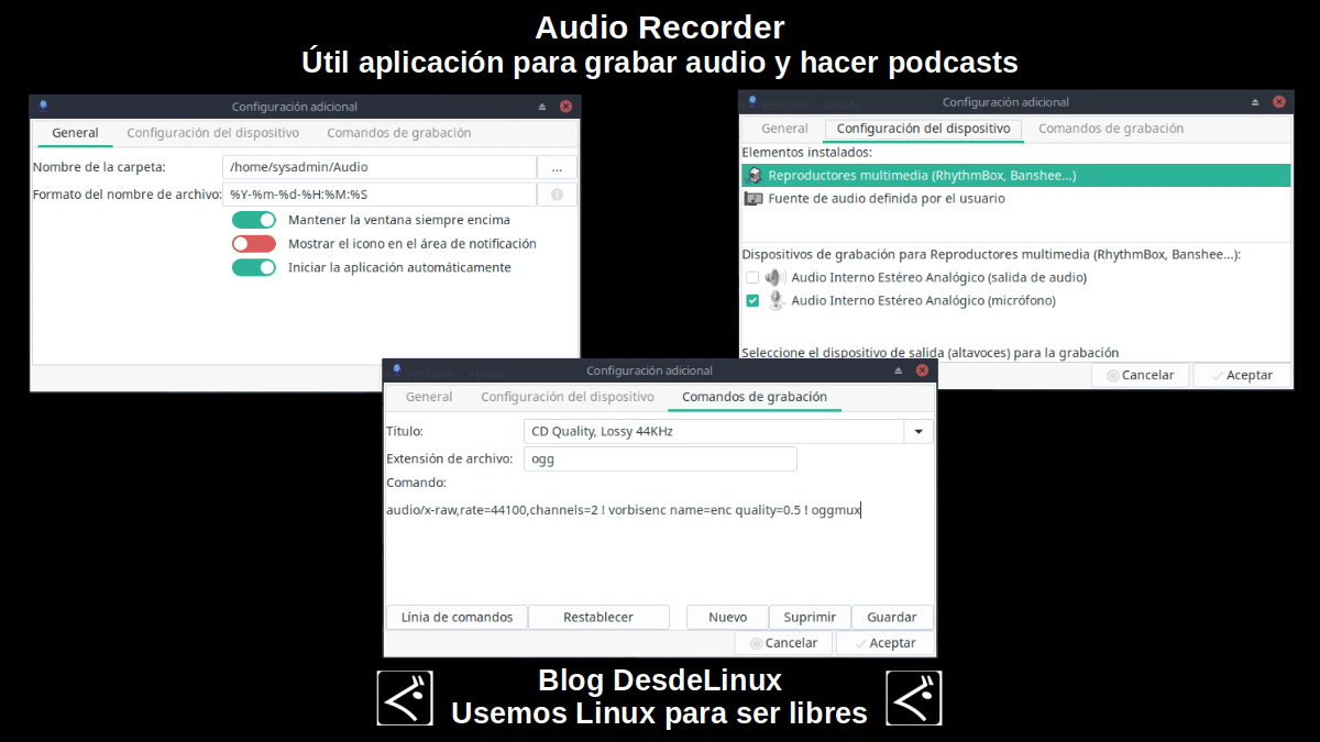 Audio Recorder: Configuraciones