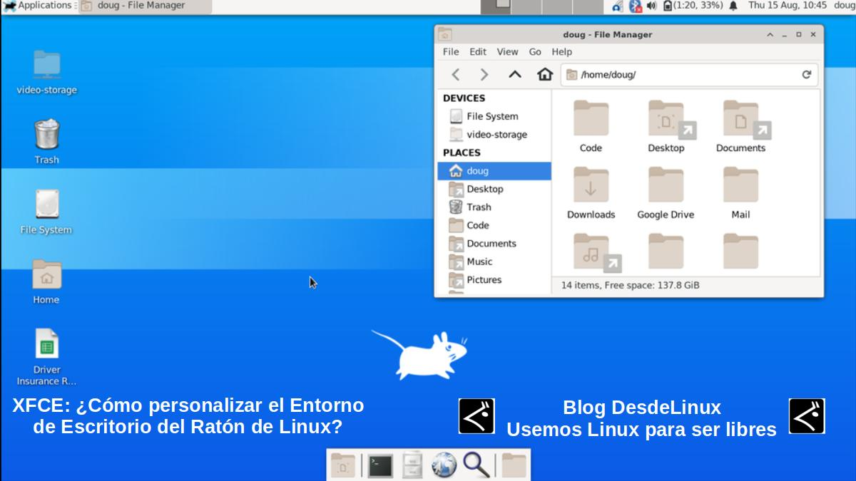 XFCE4: Aspecto visual por defecto.