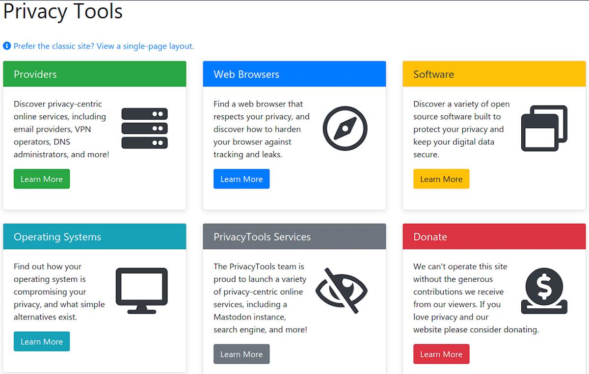 PrivacyTools: Herramientas de privacidad en línea
