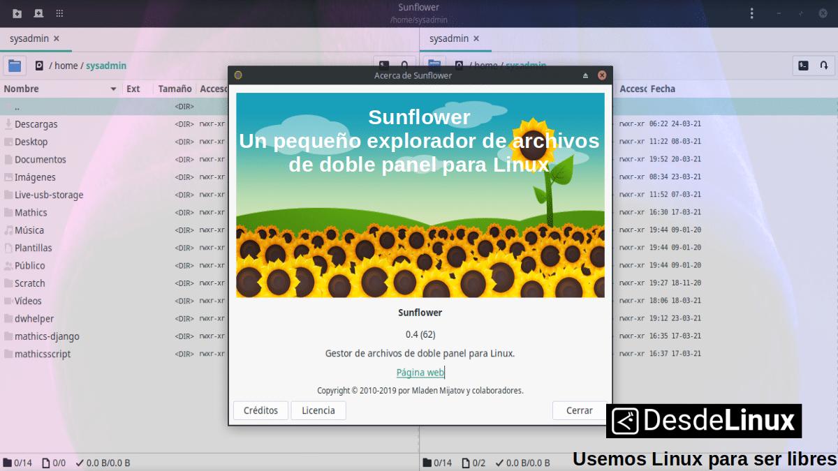 Sunflower: Explorador de archivos de doble panel