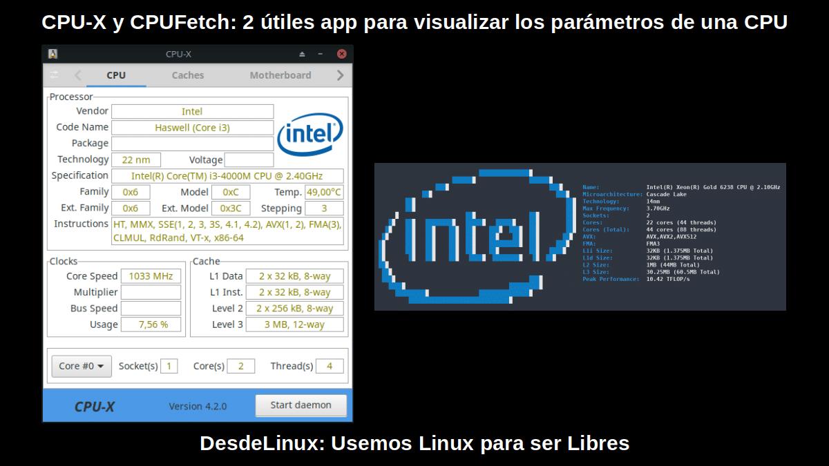 CPU-X y CPUFetch: Apps de GUI y CLI para ver info del CPU