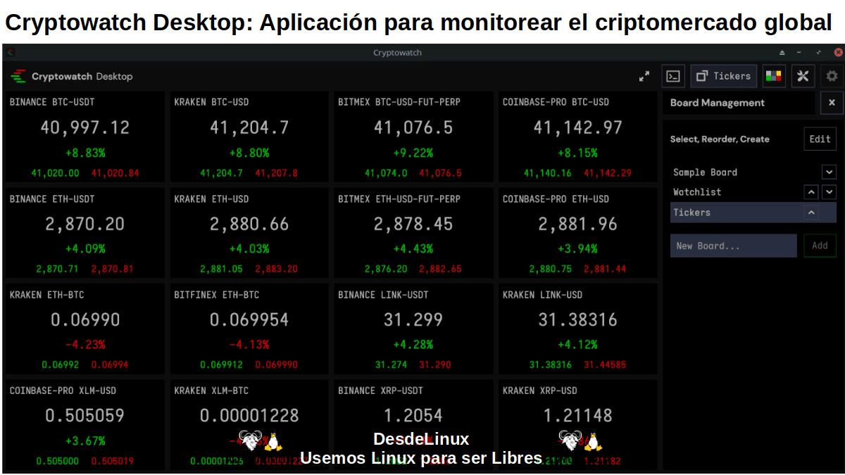 Cryptowatch Desktop: Pantallazo 3
