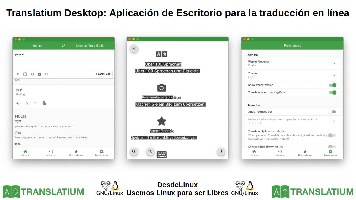 Translatium Desktop: +100 idiomas al instante para traducir