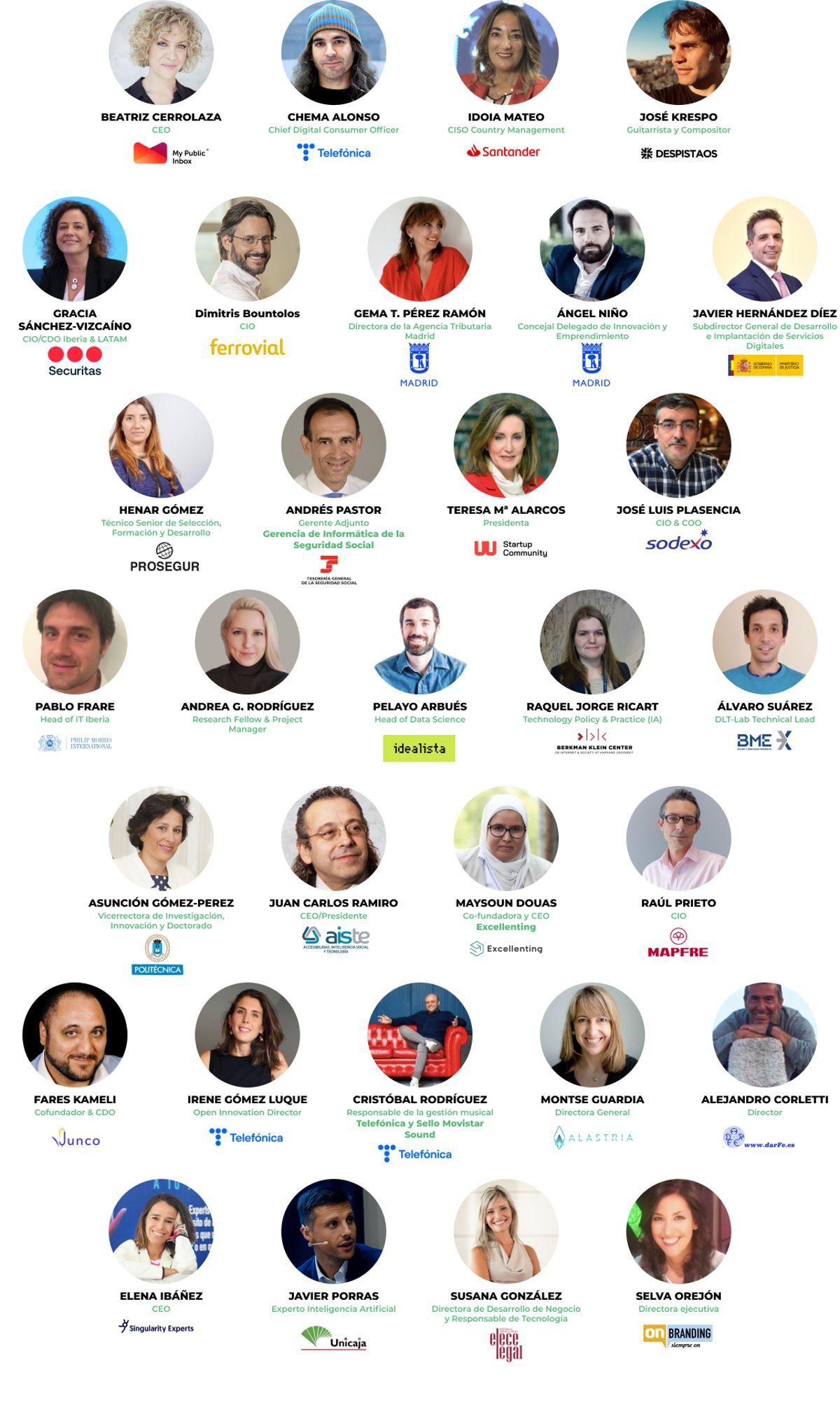 Imagenes de los ponentes y participantes de la OpenExpo Virtual Experience 2021
